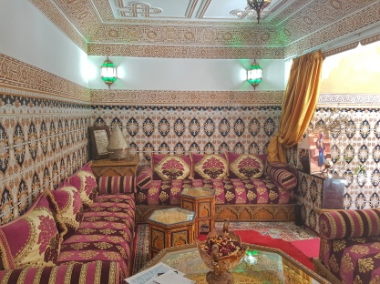 The beautiful sofas in the Riad